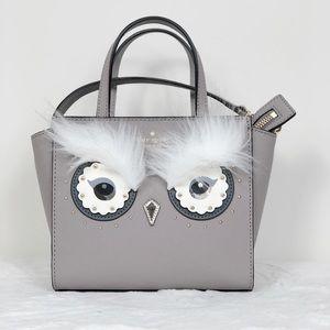 AA1-20: Kate Spade Grey Fur Owl Mini Satchel